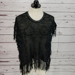 Piper knit black silver cape over shirt